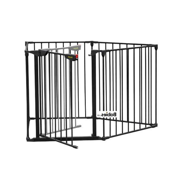 Bonnlo 121 Inch Metal Fireplace Fence Guard 5 Panel Baby Safety Gate